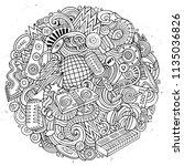 cartoon vector doodles disco... | Shutterstock .eps vector #1135036826