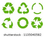 vector recycle signs | Shutterstock .eps vector #1135040582