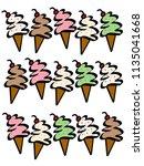 variety of ice cream cone... | Shutterstock . vector #1135041668
