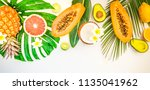 fresh fruits with green...   Shutterstock . vector #1135041962