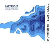 modern sea  ocean paper cut art ... | Shutterstock .eps vector #1135042322
