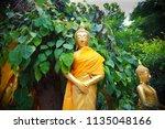 wat koh kaew in ayutthaya ... | Shutterstock . vector #1135048166