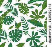 tropical vector green leaves... | Shutterstock .eps vector #1135052948