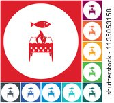 brazier grill with fish icon.... | Shutterstock .eps vector #1135053158
