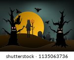 young devil holding trident...   Shutterstock .eps vector #1135063736