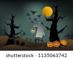 ghost in cemetery and pumpkin...   Shutterstock .eps vector #1135063742