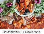 antipasti sharer platter | Shutterstock . vector #1135067546