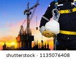 industrial worker working at... | Shutterstock . vector #1135076408