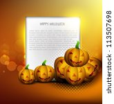 halloween pumpkins party card... | Shutterstock .eps vector #113507698