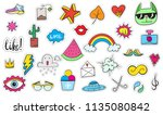 cute colorful modern patch set. ... | Shutterstock .eps vector #1135080842