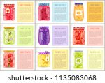 canned strawberries and... | Shutterstock .eps vector #1135083068