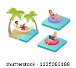 freelance workers on beach... | Shutterstock .eps vector #1135083188