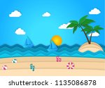 beach background in flat style... | Shutterstock .eps vector #1135086878