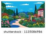 sunny day in the garden near... | Shutterstock .eps vector #1135086986