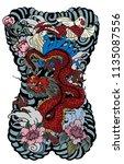 japanese tattoo design full... | Shutterstock .eps vector #1135087556