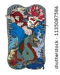 japanese tattoo design full... | Shutterstock .eps vector #1135087586