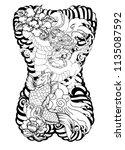 japanese tattoo design full... | Shutterstock .eps vector #1135087592