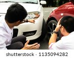 car crash on the road  wait... | Shutterstock . vector #1135094282