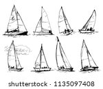 set of vector drawings of... | Shutterstock .eps vector #1135097408
