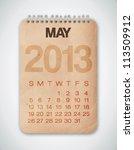 2013 Calendar May Grunge Texture