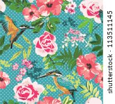 seamless flower pattern... | Shutterstock .eps vector #113511145