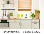 real photo of a kitchen... | Shutterstock . vector #1135112222