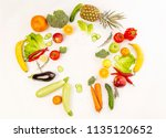 variety of juicy fruits on the... | Shutterstock . vector #1135120652