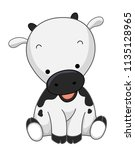 illustration of a cute cow... | Shutterstock .eps vector #1135128965