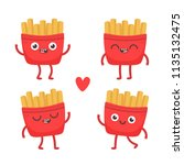 cartoon french fries. cute... | Shutterstock .eps vector #1135132475