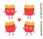 cartoon french fries. cute... | Shutterstock .eps vector #1135132475