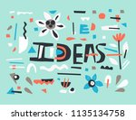 word ideas with florals and... | Shutterstock .eps vector #1135134758