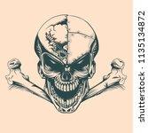 vintage skull with mechanisms... | Shutterstock .eps vector #1135134872