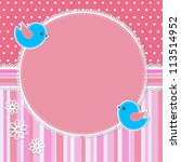 pink frame with birds and... | Shutterstock . vector #113514952