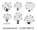 family tree with photo frames.... | Shutterstock .eps vector #1135158272