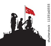 soldiers and turkish flag | Shutterstock .eps vector #1135160555