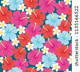 seamless pattern of hibiscus... | Shutterstock .eps vector #1135166522