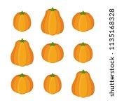 vector orange pumpkin set ... | Shutterstock .eps vector #1135168328