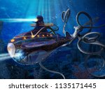 a giant squid attacks the... | Shutterstock . vector #1135171445