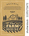 farm house for organic products ... | Shutterstock .eps vector #1135172672