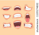 flat vector set of male mouths... | Shutterstock .eps vector #1135174832