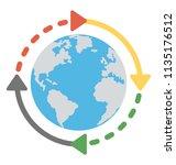 arrows around the world globe... | Shutterstock .eps vector #1135176512