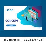 technology graph with people...   Shutterstock .eps vector #1135178405
