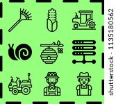 simple 9 icon set of farm... | Shutterstock .eps vector #1135180562