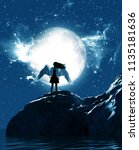 3d illustration of an angel in...   Shutterstock . vector #1135181636