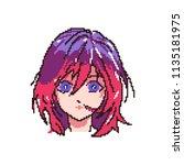 vector pixel art girl anime...