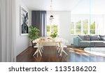 modern dining room interior 3d... | Shutterstock . vector #1135186202