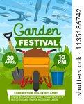 garden festival poster with... | Shutterstock .eps vector #1135186742