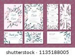 wedding card templates set with ... | Shutterstock .eps vector #1135188005