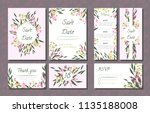 floral wedding invitation with... | Shutterstock .eps vector #1135188008