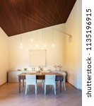 front view dining room with... | Shutterstock . vector #1135196915
